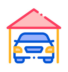 Garage shed with car vehicle thin line icon vector
