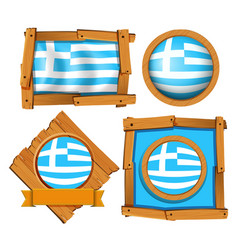 greece flag in different frames vector image