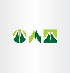 green letter m logo set vector image