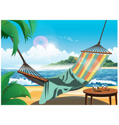 hammock on the beach vector image
