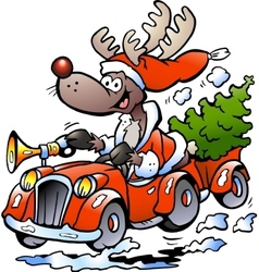 Hand-drawn of an Reindeer Driving Car vector image