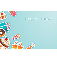 happy birthday party greeting cards and banner vector image
