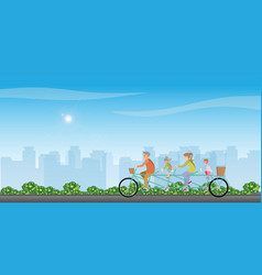 Happy family cycling tandem bicycle on treet on vector