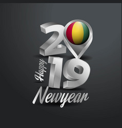 Happy new year 2019 grey typography with guinea vector