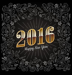 Happy new years card 2016 holiday vintage design vector