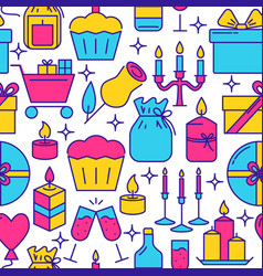 Holiday celebration seamless pattern in line style vector