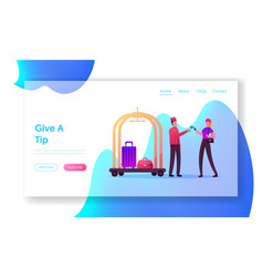 Hospitality service hostess landing page template vector