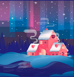 house in wintermerry christmas card with house vector image