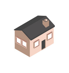 house with chimney building isometric style vector image