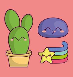Kawaii cactus design vector