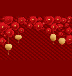 lantern and papercut flower chinese new year card vector image