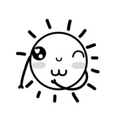 line beauty kawaii and happy sun design vector image
