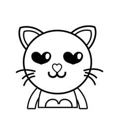 Line enamored cat adorable feline animal vector
