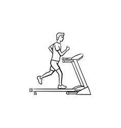 Man on treadmill hand drawn outline doodle icon vector