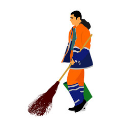 Man with brush and rake collects leaves cleaner vector