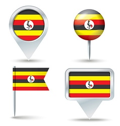 Map pins with flag of Uganda vector