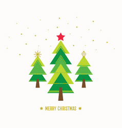 Merry christmas card with green trees and stars vector