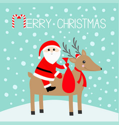 merry christmas santa claus holding gift bag vector image