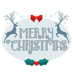 merry christmas text with reindeer silhouette vector image