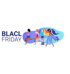 mix race women holding shopping bags black friday vector image