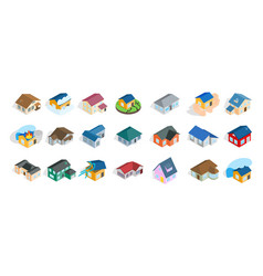 modern house icon set isometric style vector image