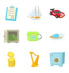 Money equivalent icons set cartoon style vector