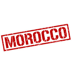 Morocco red square stamp vector