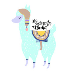no drama llama hand lettering poster with alpaca vector image