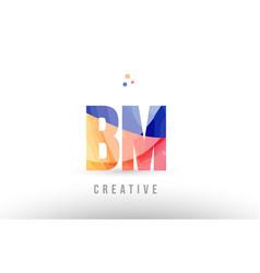 Orange blue alphabet letter bm b m logo icon vector