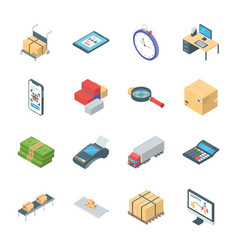 Pack logistics icons vector