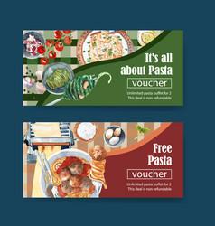 Pasta voucher design with meatball spaghetti vector