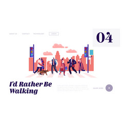 pedestrians people walking on city street website vector image