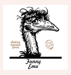 peeking funny emo - emo ostrich looks out from vector image
