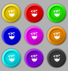 Perfume icon sign symbol on nine round colourful vector