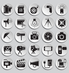 Photography and videography icon set on plates vector