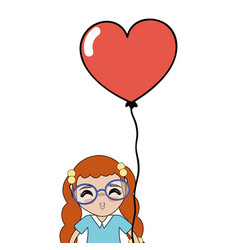 pretty girl with hairstyle and heart balloon vector image
