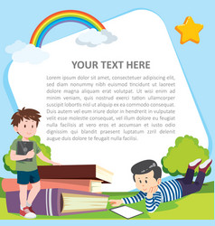 primary school kids useing tablet suitable vector image
