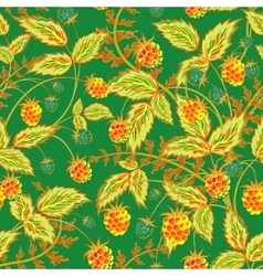 Raspberries seamless pattern with rel orange vector