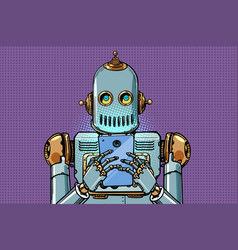 Robot looks at smartphone vector
