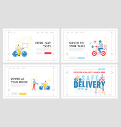 safe delivery landing page template set courier vector image