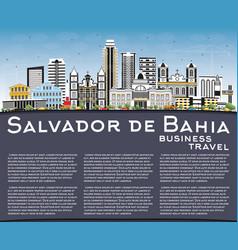 Salvador de bahia city skyline with color vector