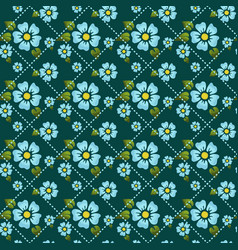 seamless pattern with flowers and dotted lines vector image