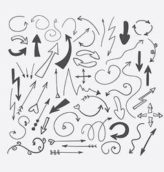 set hand-drawn arrows vector image