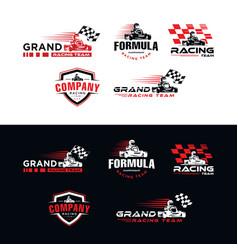 Set karting race go kart logo kart driver sport vector