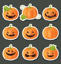 set of pumpkins for halloween set of pumpkins for vector image