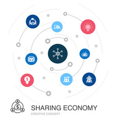 Sharing economy colored circle concept with simple vector