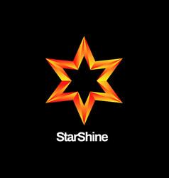 shiny orange star logo design vector image