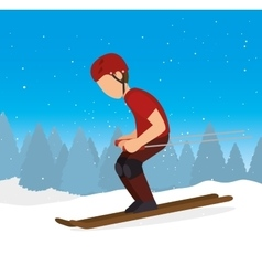 Skiing downhill man extreme sports vector