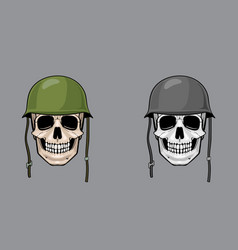 Skull in army helmet colorful and greyscale vector