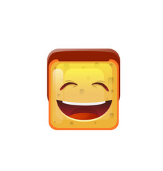 smiling emoticon face with open mouth positive vector image